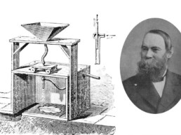 Benjamin Chew Tilghman et le mécanisme de son invention. Unique en son genre, l'appareil permit pour la première fois de graver le verre et le cristal grâce au sable © Twitter
